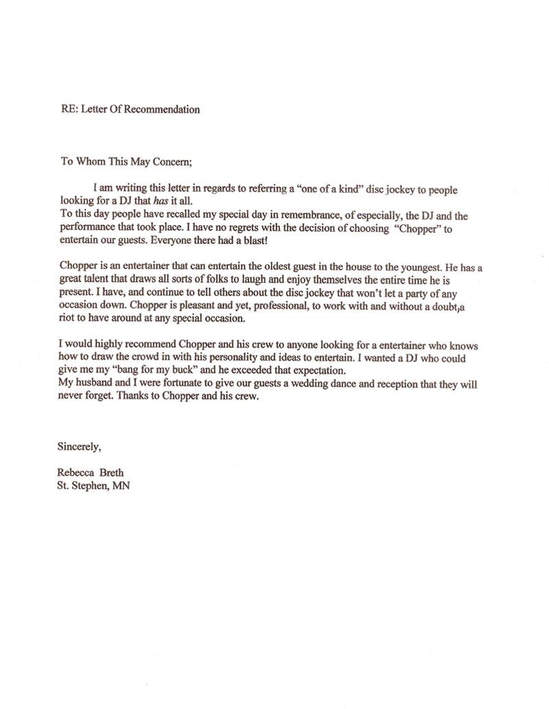dance recommendation letter